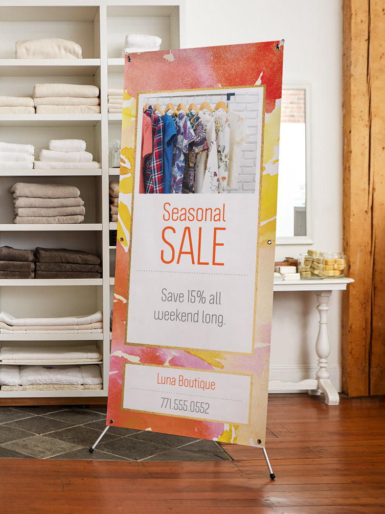 Design a banner to print - Vertical Banner Stands For Indoor Use Only