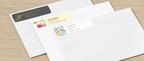 Custom return address labels for envelopes