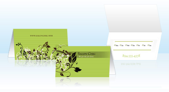 Folded business cards vistaprint with twice the space of standard business cards you have the luxury of featuring your contact information an appointment card as well as a map and reheart