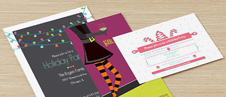Holiday party invitations for Christmas, Halloween & New Year's