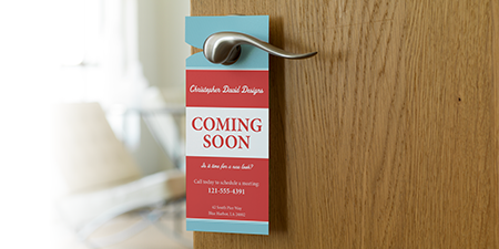 Design A Door door and frame on wall background Door Hangers
