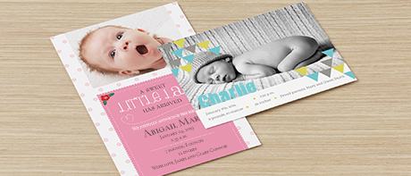 Custom birth announcements for boys & girls